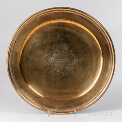 Large Armorial Engraved Brass Charger