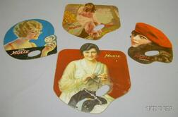 Four Moxie Chromolithograph Advertising Hand Fans