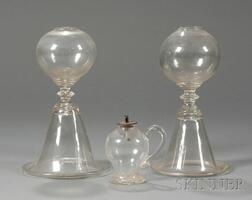 Three Colorless Free-blown Glass Fluid Lamps