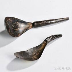 Two Northwest Coast Carved Horn Spoons