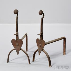 Pair of Wrought Iron Heart-decorated Andirons