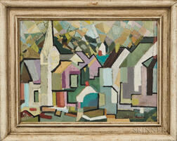 Lionel Byalin (American, 1906-1972)      Cubist Town View