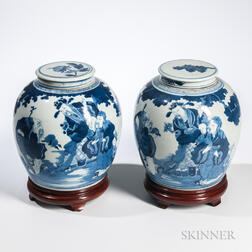 Near Pair of Blue and White Covered Ginger Jars