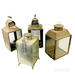 Four Large Tin and Glass Lanterns