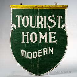 "Shield-shaped Double-sided ""Tourist Home Modern"" Sign"