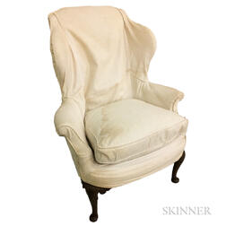 Queen Anne-style Carved Mahogany Wing Chair