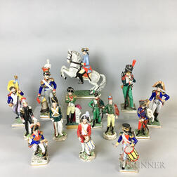 Fourteen German and French Porcelain Military Figures