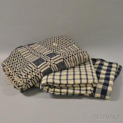Three Woven Blue and White Blankets/Coverlets