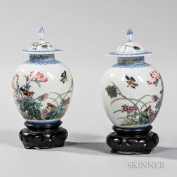 Pair of Eggshell Porcelain Covered Jars