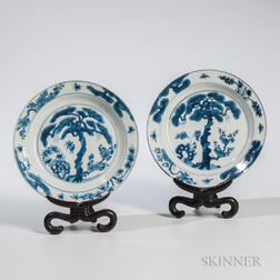 Near Pair of Blue and White Plates
