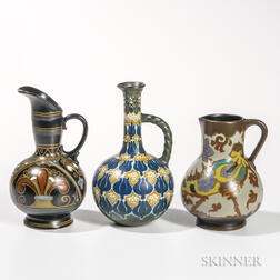 Three Gouda Pottery Jugs