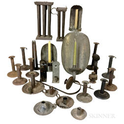 Group of Tin and Sheet Iron Lighting Devices and Candlemolds.     Estimate $200-300