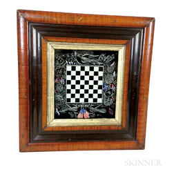 Small Framed Reverse-painted Patriotic Checkerboard