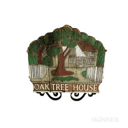 "Carved and Paint-decorated Wood and Iron ""Oak Tree House"" Sign.     Estimate $200-250"