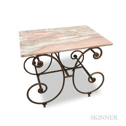 Modern Bronzed Wrought Iron Scroll-base Marble-top Table