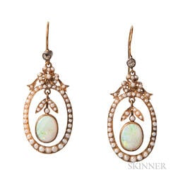 15kt Gold and Opal Earrings