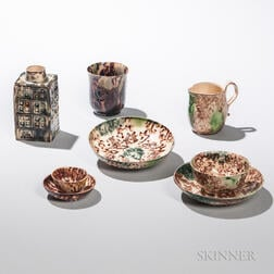 Six Staffordshire Tortoiseshell-glazed Cream-colored Earthenware Items