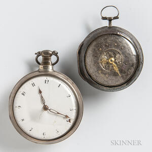 Two Silver English Verge Watches