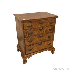 Diminutive D.R. Dimes Chippendale-style Tiger Maple Chest of Drawers