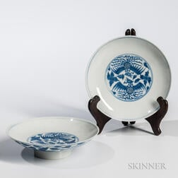 Pair of Blue and White Footed Dishes