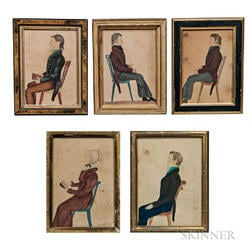American School, Early 19th Century      Five Portraits of Members of the Nessly Family