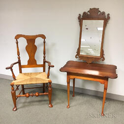 Queen Anne-style Tiger Maple Tavern Table, Armchair, and Scroll-frame Mirror.     Estimate $200-250