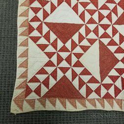 "Pieced and Appliqued Cotton ""Lady of the Lake"" Red and White Quilt.     Estimate $200-250"