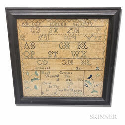 "Framed ""Mary Jane Currier"" Needlework Sampler"
