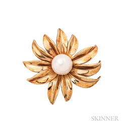 18kt Gold and Cultured Pearl Flower Brooch, Tiffany & Co.