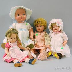 Four Composition Dolls by Madame Alexander and Effanbee