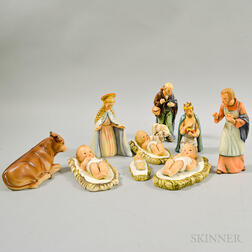 Nine-piece Goebel Ceramic Nativity Scene.     Estimate $200-250