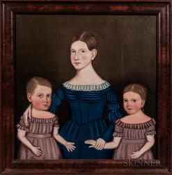 American School, Mid-19th Century      Triple Portrait of Mary Jane, George Augustus, and Adeline Augusta Booth