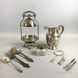 Group of Sterling Silver Tableware and a Silver-plated Domed Server