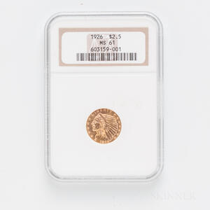 1926 $2.50 Indian Head Gold Coin, NGC MS61.