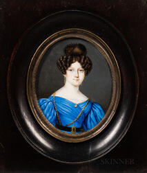 American School, 19th Century      Miniature Portrait of a Woman in a Blue Gown