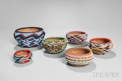 Six Paiute Beaded Baskets
