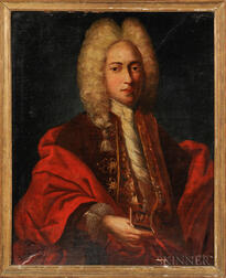 Continental School, 17th Century Style      Gentleman in Red Holding a Snuffbox
