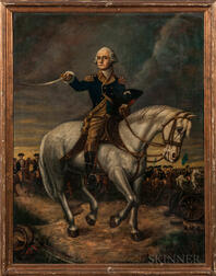 Attributed to Frederick Kemmelmeyer (Maryland/Virginia, 1752/53-1820/25)      General Washington Reviewing the Troops at Trenton