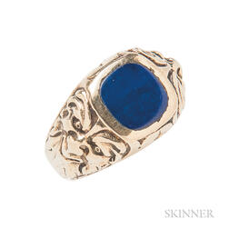 Art Deco 14kt Gold and Lapis Ring