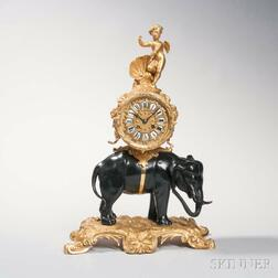 Louis XV-style Gilt and Patinated Bronze Elephant Clock