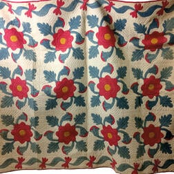 "Appliqued Cotton ""Rose of Sharon/Oak Leaf"" Quilt.     Estimate $200-250"