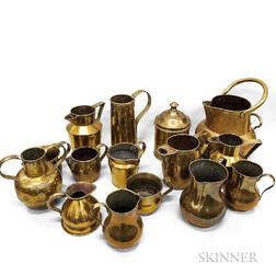 Fifteen Brass Pitchers, Jugs, and Measures