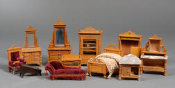 Group of German Fruitwood Dollhouse Furniture