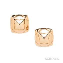 18kt Gold Pyramid Earclips, Bulgari