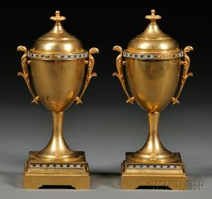 Pair of Bronze and Champleve Covered Urns