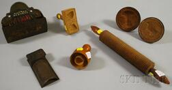 Seven Assorted Wood and Tin Household Items