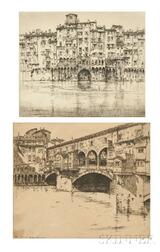 Ernest David Roth (American, 1879-1964)      Two Views of Florence: Ponte Vecchio - Florence