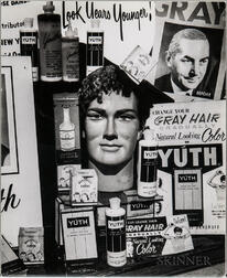 Walker Evans (American, 1903-1975)  Hair Care Shop Window Off Broadway, New York City, Made for the Unpublished Fortune Magazine Portfo