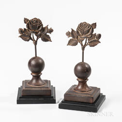 Two Cast Iron Rose Fence Finials