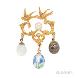 Three Antique Egg Charms